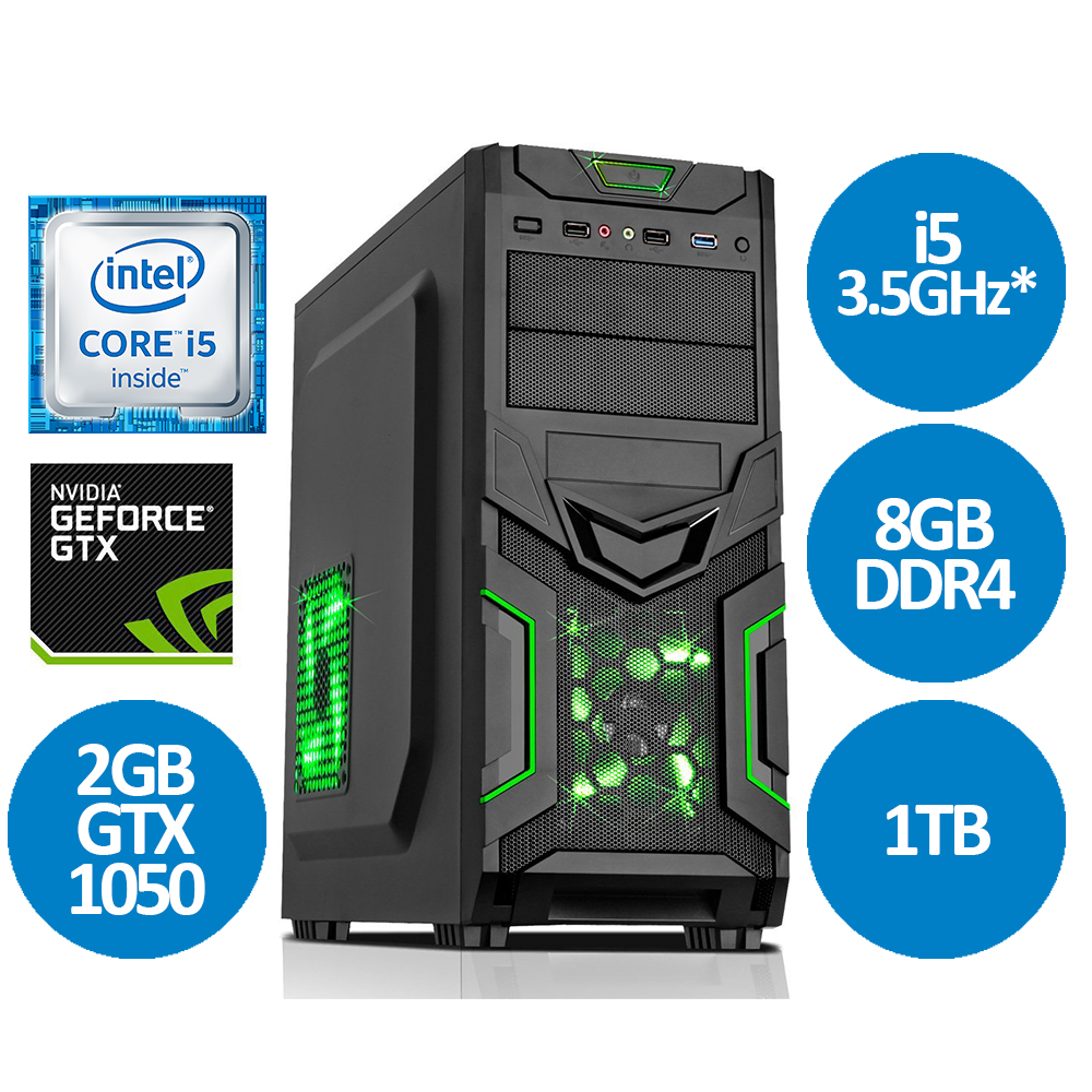 Intel i5 7400 3.5GHz Quad Core 8GB 1TB GTX1050 Gaming PC MS V15 Fast Delivery