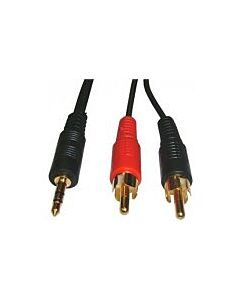3.5mm Stereo Plug to 2x Phono Plug, 10Mtr