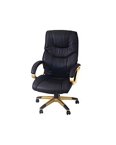 Computer Office Chair Desk High Back PU Leather-Faced Swivel Adjustable Black - Flat Pack