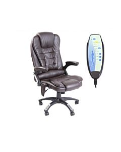 RIO BROWN MASSAGE RECLINING LEATHER OFFICE CHAIR w 6 POINT MASSAGE HIGH BACK COMPUTER DESK 360 SWIVEL