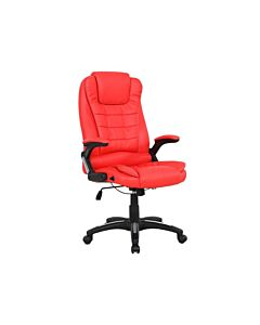 RIO Red LUXURY RECLINING EXECUTIVE HIGH BACK OFFICE DESK CHAIR FAUX LEATHER SWIVEL
