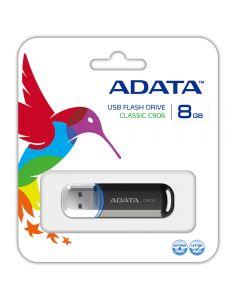 ADATA C906 8GB USB 2.0 Memory Pen, Compact, Black & Blue - AC906-8G-RBK