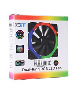 CiT Halo X Dual Ring RGB LED 12V Fan 4pin( works with ASUS/MSI/Gigabyte) Plus 3pin Power Connector - CITHALOX