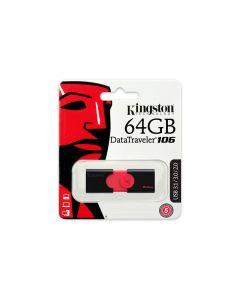 64GB Kingston DataTraveler106 USB3.1 Gen1/USB3.0/2.0 Type A Capless Pendrive Black/Red - DT106/64GB