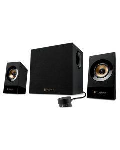 LOGITECH Z533 Multimedia 2.1 PC Speakers, 60Watt RMS -2 x satellite speaker - 15 Watt - 8 Ohm - wired / 1 x subwoofer - 30 Watt - 4 Ohm - wired , Wired Remote , Upto 3 Devices - 980-001055