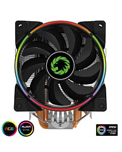 GameMax Gamma 500 ARGB CPU Cooler, 125 x 125 x 25 PWM ARGB LED silent fan, 5 x copper heat pipes, Intel/AMD/AM4,  ASUS MSI Compatible - 6931858790673