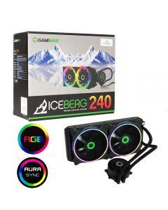 Game Max Iceberg 240mm Water Cooling System with 2 x 120mm ARGB Fans (Intel / AMD - inc.AM4), 3pin AURA Sync - GMX ICEBERG240ARGB