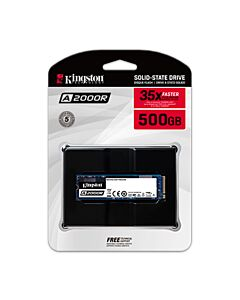 Kingston A2000, 500Gb M.2 (2280) PCIe 3.0 (x4) NVMe SSD, 2200MB/s Read, 2000MB/s Write, 180k/200k IOPS - SA2000M8/500G