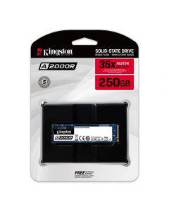 Kingston A2000, 250Gb M.2 (2280) PCIe 3.0 (x4) NVMe SSD, 2000MB/s Read, 1100MB/s Write, 150k/180k IOPS - SA2000M8/250G