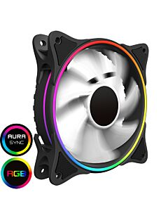 GameMax Mirage 120mm Fan with White Fins Rainbow RGB 5V Addressable 3pin Header & 3pin M/B - 5055492407986