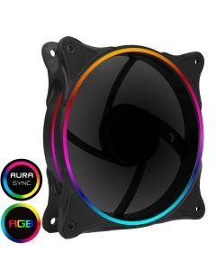 GameMax Mirage 120mm Fan with Black Fins Rainbow RGB 5V Addressable 3pin Header & 3pin M/B - 5055492407641