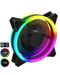 GameMax Velocity 12cm Rainbow ARGB Fan RTB 3pin M&F Aura Header 3pin/4pin Power - 5055492408150