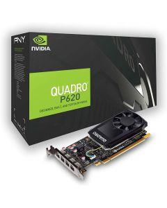 2GB PNY NVIDIA Quadro P620, Pascal, 512 Cores, 128Bit, 80GB/s, 4x mDP 1.4 with DVI Adaptors, Single Slot + LP Bracket - VCQP620DVI-PB