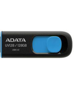 ADATA DashDrive UV128 128GB USB2.0/3.0/3.1(Gen 1) Type-A, Black/Blue Retractable USB flash drive - AUV128-128G-RBE