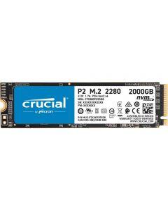2Tb(2000GB) Crucial P2 M.2 (22x80) PCIe 3.0 (x4) NVMe SSD, 3D NAND, Read 2400MB/s, Write 1900MB/s - CT2000P2SSD8
