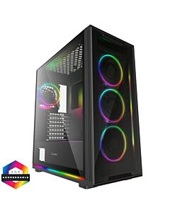 GameMax View ARGB Sync Gaming Case 2xLED Strips 4xFans 3pin Hub TG Front/Side - 5055492408396