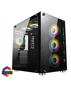 GameMax DS360 Glass Gaming Case 6x Infinity ARGB Fans Hub - 5055492409638